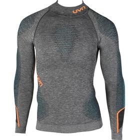 UYN M's Ambityon Melange UW LS Turtle Neck Shirt Black Melange/Atlantic/Orange Shiny